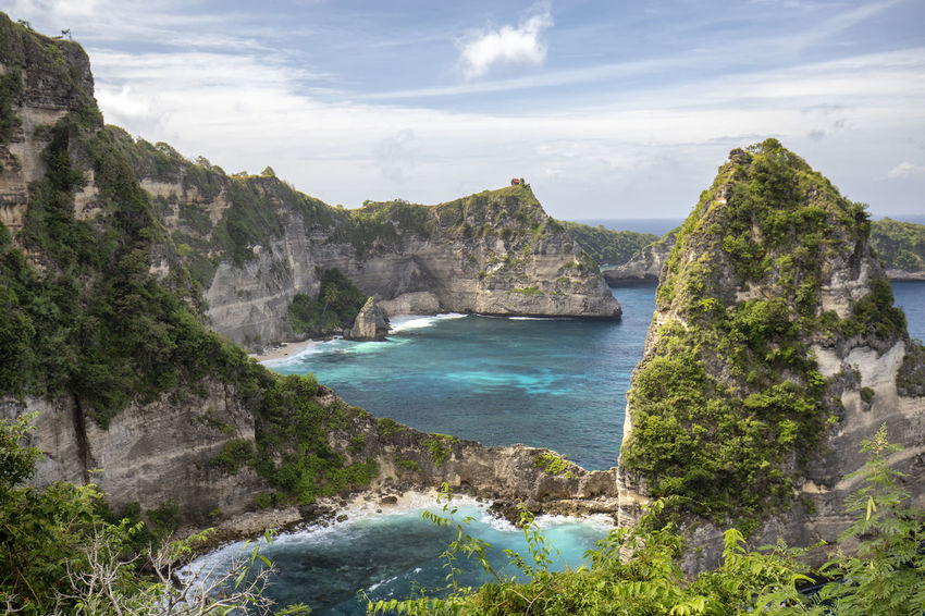 Small bays and hidden beaches at the Raja Lima islands on Nusa Penida, Indonesia. ASIA Atuh Beach Bali Diving Hindu INDONESIA Indonesian Nusa Batupadasan Shrine Tourist Travel Ampoak Atuh Balinese Beach Destination Klungkung Landscape Lebah Nusa Batumategan Nusa Penida Pejukutan Raja Lima Tourism Tropical