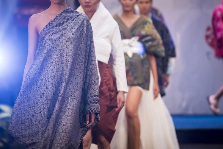 Fashion models walking on ramp