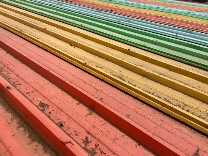 Colorful Roof Roof No People Full Frame Pattern Multi Colored Wood - Material Backgrounds Large Group Of Objects In A Row Architecture Close-up Indoors  Red Art And Craft