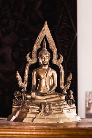 A close up of old golden buddha statue in thailand. Beautiful Buddha Gold Golden Statue Thai Tradition Art Believe Buddha Statue Buddhism Buddhist Temple Cultures Day Gold Colored Indoors  Metal No People Religion Religious  Sculpture Sculptures Spirituality Statue Steel