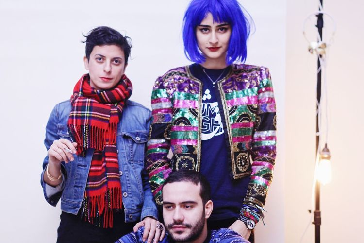 The Portraitist - 2017 EyeEm Awards Looking At Camera Portrait Young Men Front View Young Adult Young Women Casual Clothing Standing Two People Togetherness Men Real People Indoors  Day People Modern Family Portraits Blue Hair Man No Gender Family Friends Future Faces Place Of Heart Fashion Stories This Is Queer