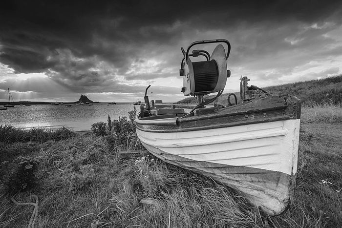 Beached Beach Nautical Vessel Cloud - Sky Moored No People Beauty In Nature BW Collection Landscape BW Landscape Northumberland Lindisfarne Holy Island Coastline Coastal Sea And Sky Seaside Outdoors Secluded  Tranquility Miles Away The Great Outdoors - 2017 EyeEm Awards