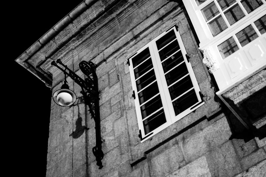 Streetphoto_bw Black And White Urbanphotography Old Building  Monochrome Architecture_bw La Coruña Street Lamp Night Photography Light And Shadows
