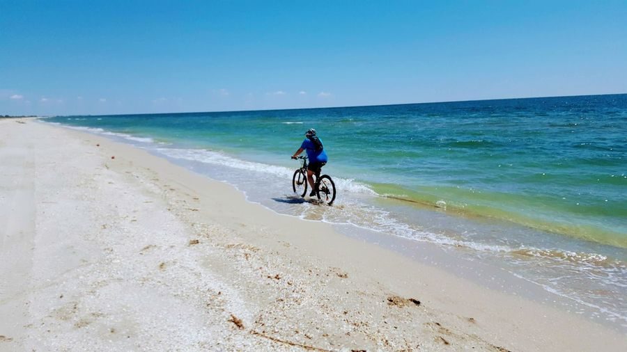fun Headwear Sea Sand Full Length Motorcycle Beach Clear Sky Sky Horizon Over Water Landscape Riding Cycling Helmet Cycling Bicycle Mountain Bike