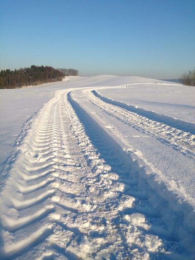 Snow Nature Winter Landscape Path Pathways Looking Into The Future Walk Forward Pure Clean Fresh tranquility Outdoors Day Sky Beauty In Nature Cold Temperature No People Powder Snow