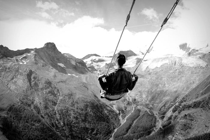 Mountain One Person Adult Adventure Cloud - Sky Mountain Range Sky Outdoors Swing Nature Landscape Beauty In Nature Nature Saasfee Switzerland Saas Fee Swiss Travel Destinations Alps Woman Black And White Blackandwhite Hannig