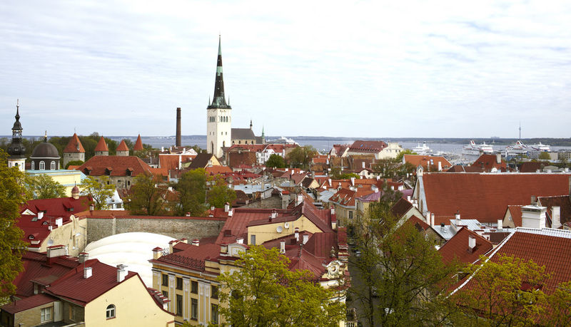 Aerial City Estonia Europe No People Nobody Old Europe Red Roofs Sky Spring Tallinn Town View