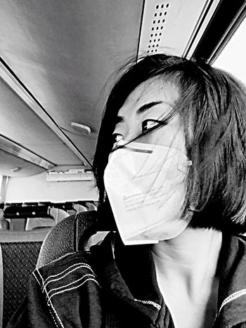 Portrait Blackandwhite Mask On The Bus Looking To The Other Side Monochrome