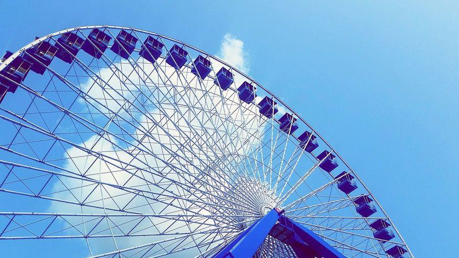 #ferriswheel #fair #bluesky EyeEm Selects Blue Ferris Wheel Sky Close-up Architecture Semi-circle Amusement Park Amusement Park Ride