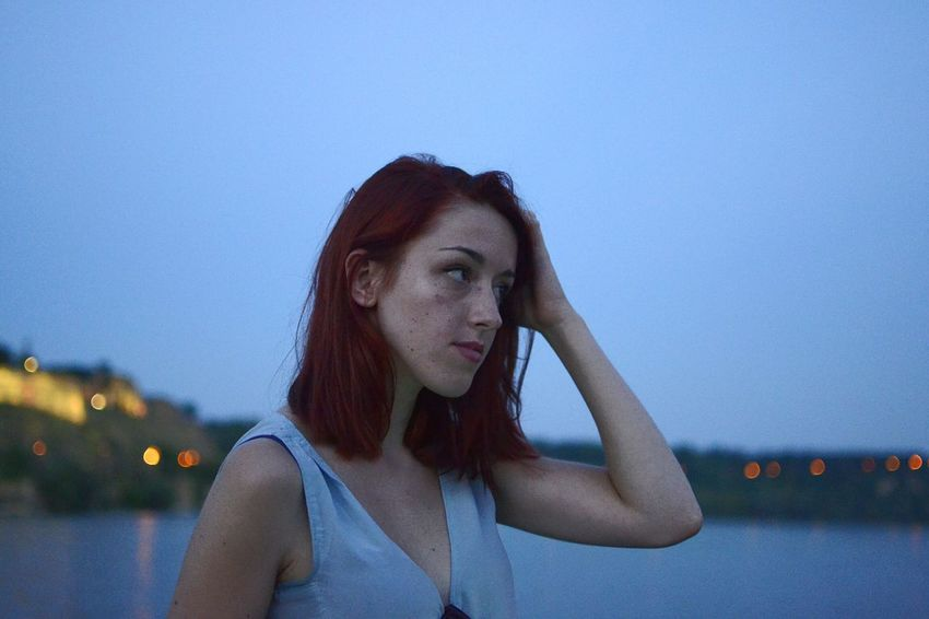 Portrait Ginger Redhead Summer Summer Evening Summer Nights Hanging Out Fashion Summer Colors Near The River Novi Sad Freckles Young Woman