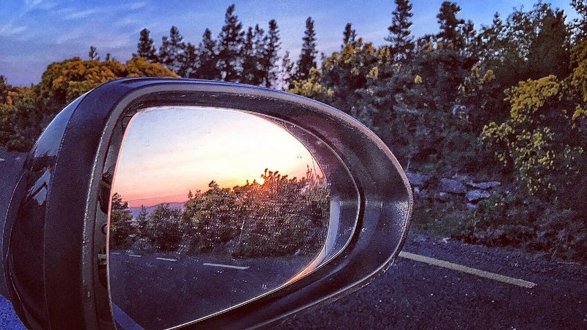 Rearview view Transportation Tree Car Sunset Window Side-view Mirror Reflection Landscape Close-up Mode Of Transport Glass - Material Land Vehicle Travel Sky Nature Growth Journey Vehicle Non-urban Scene Tranquil Scene