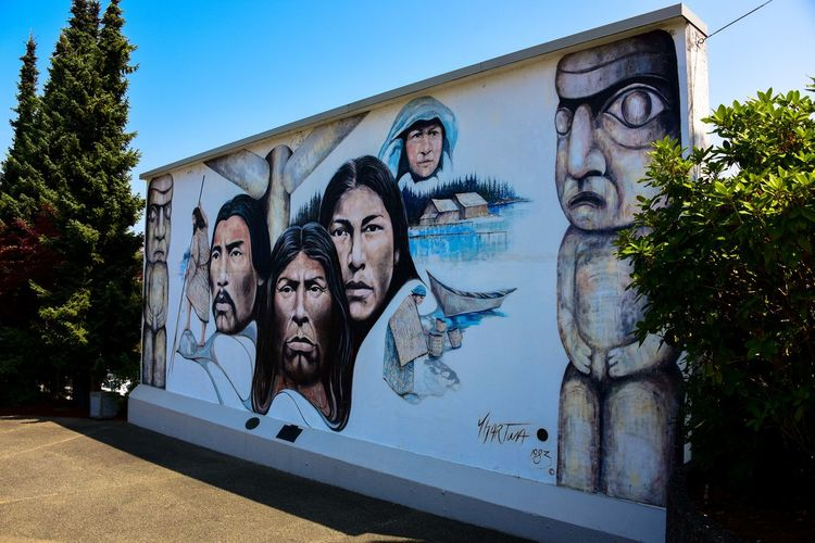 EyeEm EyeEm Best Shots Wall Wall Decoration Wall Art Wall Painting Architecture Art And Craft Building Building Exterior Built Structure Canada Chemainus Creativity Day Human Representation Nature No People Outdoors Outside Representation Summer Vancouver Island Wall - Building Feature Wall Painting/grafitti