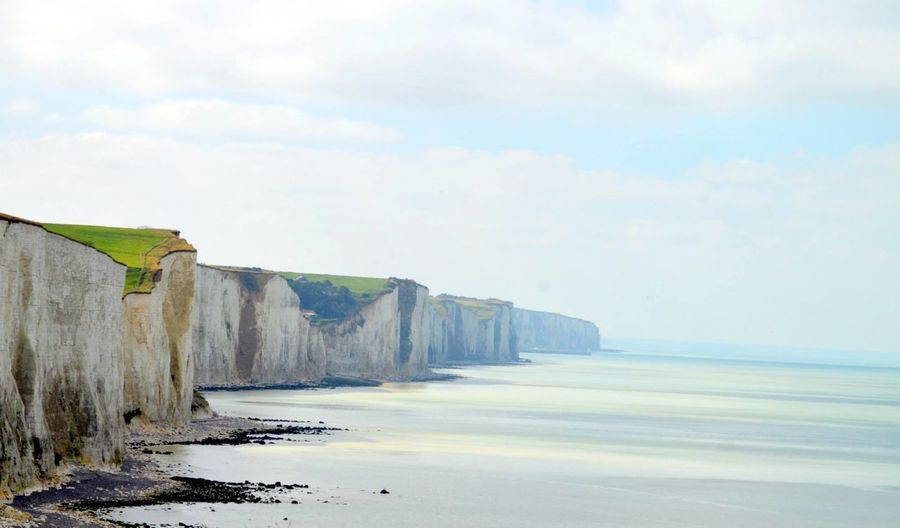Beach Chalk Cliffs Cliffs Cliffs And Water French Coast Picardie Sea Water
