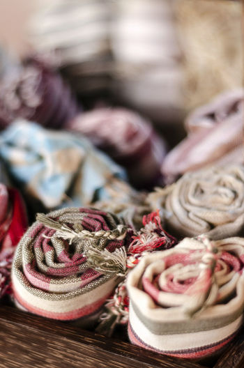 Close-up of rolled up textiles