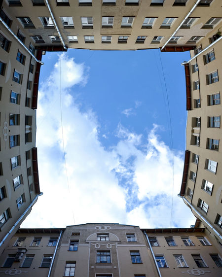 The courtyard of an residental building on the 10 line of Vasilyevsky Island, Saint Petersburg, Russia Aint Petersburg Architecture Blue Building Building Exterior Built Structure City City Life Cloud Cloud - Sky Cloudy Day No People Outdoors Residential Building Russia Sky Vasilyevsky Island Battle Of The Cities The Architect - 2017 EyeEm Awards Neighborhood Map