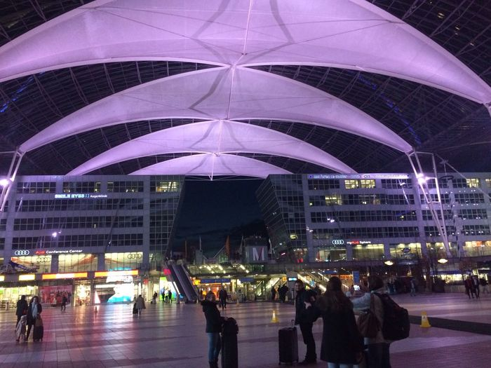 Munich Airport Franz Josef Strauss Airport Large Group Of People Built Structure Illuminated Night Real People Architecture Walking