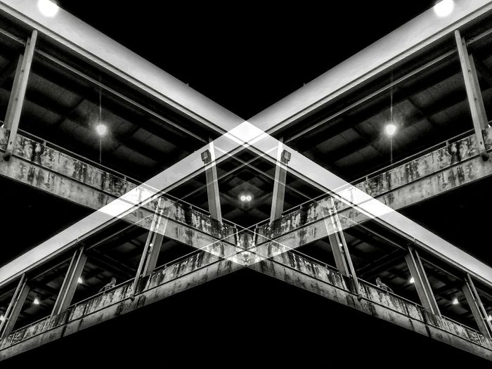 Double x- posure Black And White Monochrome Architecture Low Angle View Night Bridge - Man Made Structure Built Structure Illuminated Transportation City