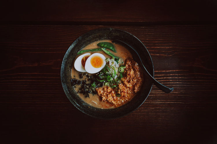 Directly above shot of japanese ramen soup in bowl on wooden table