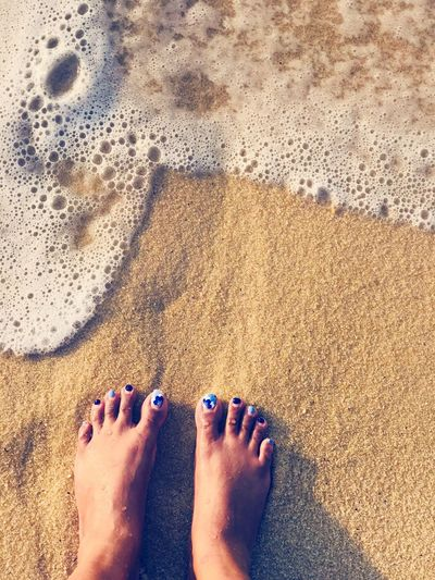 #feet #wave #beach #sunkissed #sand #heaven Human Leg Low Section Human Body Part Body Part Beach barefoot Personal Perspective Land Sand Women Nature Nail Sunlight Standing Sea Lifestyles