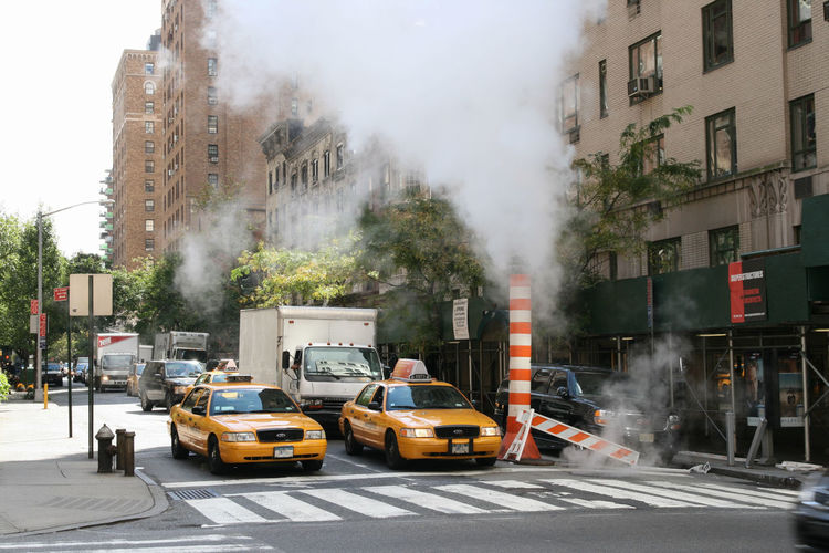 35th Street Big Apple Car City City Life Crossroads Day New York Steam Steam Street Taxi Traffic Urban USA Yellow Cabs