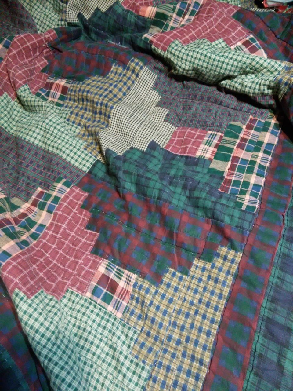 pattern, checked pattern, high angle view, textile, day, indoors, no people, close-up