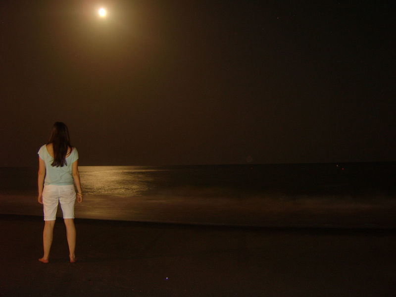 Beauty In Nature Girl Standing Horizon Over Water Mediterranean Sea Moonlight Night Night Sea Night Sky Sea Standing Tranquility