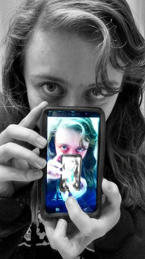Reflections show your true self. Reflection Repeat Black & White Colored Phone That's Me Smile Covered Face Big Eyes Reflections Repeating Edited Product Of My Boredom Blue Eyes