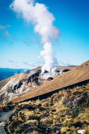 Geology Nature Landscape Physical Geography Smoke - Physical Structure Day Sky No People Beauty In Nature Scenics Mountain Outdoors Blue Tranquility Power In Nature Erupting Volcanic Landscape Breathing Space Investing In Quality Of Life
