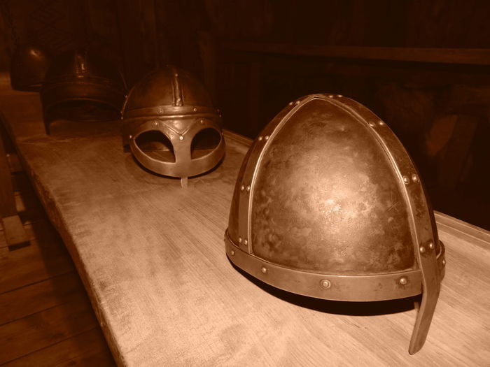 Norway Vikings  Antique Architecture Belief Flooring Helmets High Angle View History Indoors  Metal No People Old Religion Spirituality Still Life Table The Past Warriors