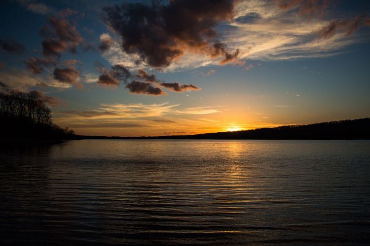 Sunset at Lake Galena. Sunset Scenics Tranquil Scene Tranquility Beauty In Nature Nature Water Sky Reflection Silhouette Idyllic Cloud - Sky Lake No People Outdoors Rippled Tree Landscape Day