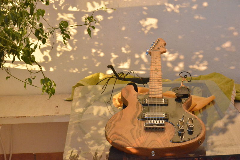 One lady Balcony Electric Guitar Flowers Guitar Mojacar Outdoors Peavey T-60
