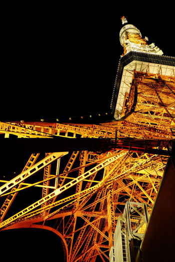 Night Tokyo Tower. Japan Tokyo Tokyo Tower Architecture Building Exterior Built Structure Clear Sky Fujifilm Fujifilm_xseries Illuminated Low Angle View Night No People Outdoors Sky Travel Travel Destinations