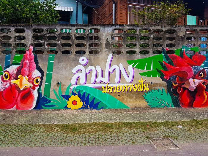 Lampang street art Wall Cement Wall Wooden House Traditional But Modern New Style Chicken Hen Rooster Angry Colourful Thai Thai Writing Lampang Destination Dream Destination Thailand Northen Thailand Multi Colored Street Art Graffiti Architecture ArtWork Art Drawing Mural Non-western Script #urbanana: The Urban Playground