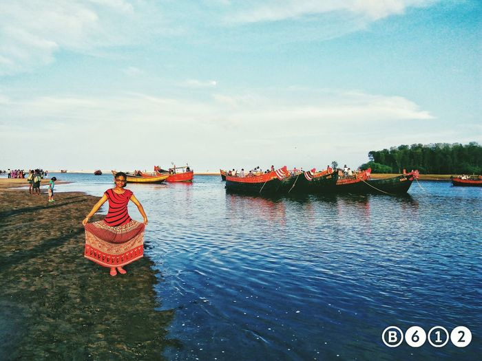 Digha Trip 2016. Talsari Orissa Girl Power Beach Photography OrissaDiaries Feel The Journey Original Experiences The Traveler - 2015 EyeEm Awards Reflection_collection The Innovator People Of The Oceans The Great Outdoors - 2016 EyeEm Awards The Great Outdoors Nature On Your Doorstep Boats⛵️ Blue Blue Sky Blue Sea Colourful Colourful Nature Red Girl Trip Photo Reflection