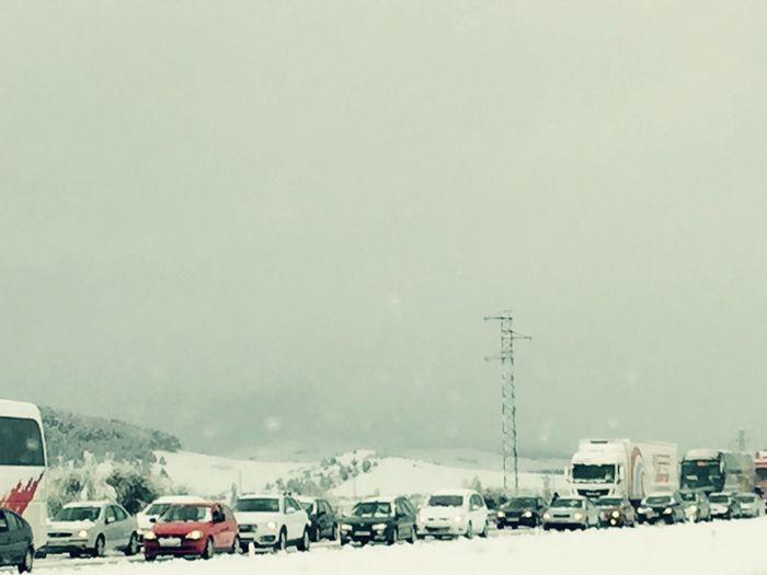 Under Pressure Wintertime Snowing Traffic Jam