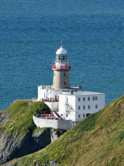 Architecture Baily Lighthouse Blue Building Exterior Built Structure Clear Sky Day Dome Dublin Bay Dublin, Ireland Grass High Angle View Horizon Over Water Howth Irish Sea Lighthouse Marine Light Outdoors Sea Water