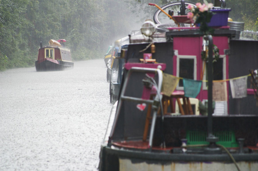 Alternative Lifestyle Boats Canals And Waterways EyeEmNewHere Holiday Kennet And Avon Canal Landscape Liveaboard Narrowboat Off-grid Prayer Flags  Rain Rainy Days Transportation Weather