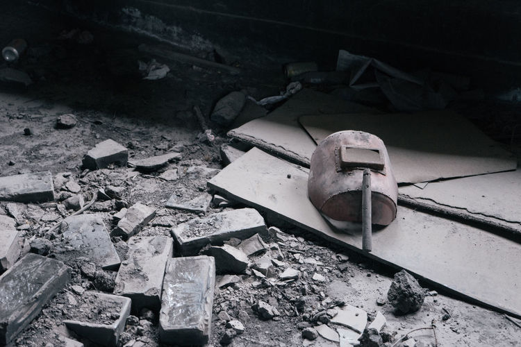 High angle view of broken toy car