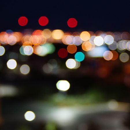 BokehCO Cam] bokeh of Las Vegas 3 red dot at top are the light towers Bokehlicious Bokeh Lights downtown Picoftheday pixxzo Lasvegas Out Of Focus