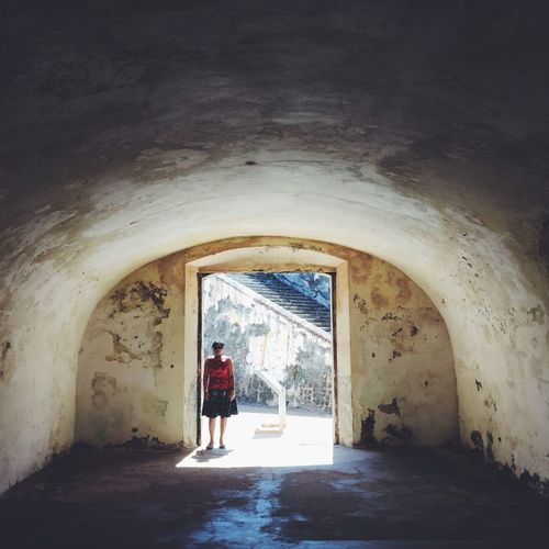 lady in red Abandoned Arch Architecture Archway Bad Condition Built Structure Ceiling Column Corridor Door Entrance In Red Indoors  Interior Lady Obsolete Old Ruined Silhouette Tunnel Wall Window