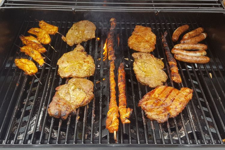 Food Stories BBQ Grill Fire Meat Steack Bacon Summer Smoke Eating Preparing Food Pork Chicken Spicy Marinade Barbecue Party