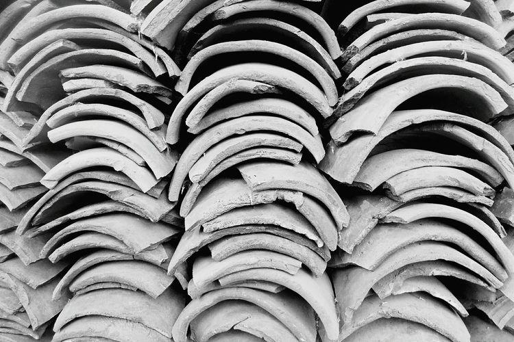 Full frame shot of stacked roof tiles