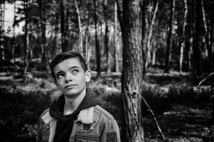 Th dreamer Bkackandwhite Young Men Portrait Photography Adolescence  Young Adult Tree Portrait Forest Young Women Headshot Winter Tree Trunk Front View WoodLand