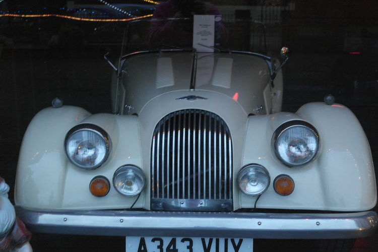 Amazing Automobile Classic Classic Car Close-up Indoors  Luxury Morgan Morgan Front View No People Old Car Old-fashioned Vintage Car White Morgan