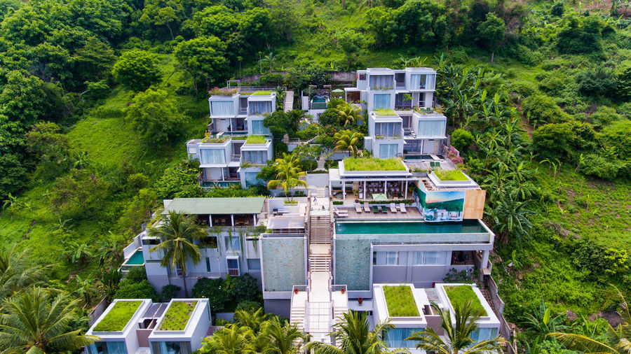 Hotels in the middle of green mountains Plant Tree Architecture Building Exterior Built Structure Green Color Residential District Nature Building House High Angle View Outdoors Day Foliage No People Lush Foliage Travel Destinations Forest Land Summer Cottage Luxury Resort Resort Hotel Lombok