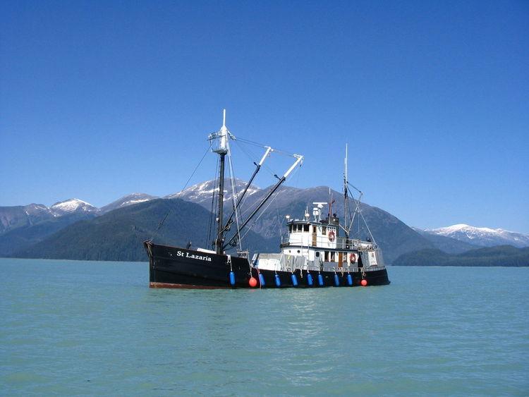 St. Lazaria Boat Classic Boats Clear Sky Mountain Scenics Sea Sea Scape Tender Wooden Boat