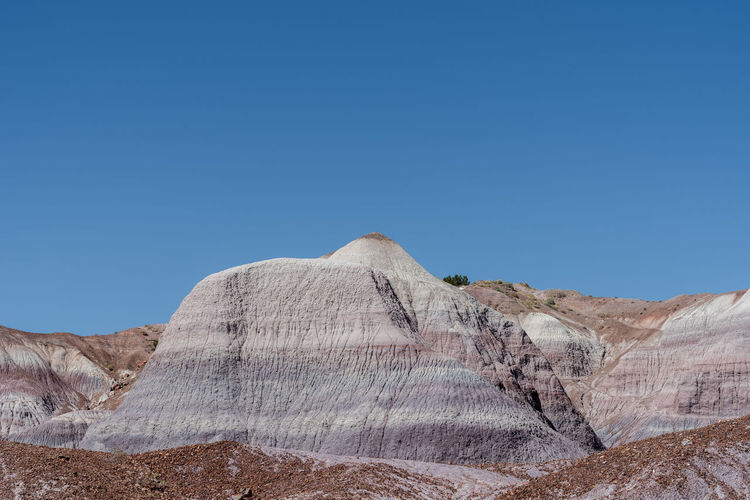 Landscape of badland hills at blue mesa in petrified forest national park in arizona