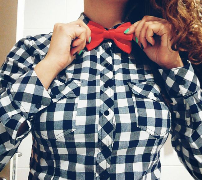 Plaid Shirt  Bow Tie Red White And Blue Red Bows That's Me Feeling Myself  Feeling Crazy My Unique Style