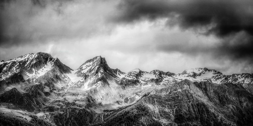 Fine Art Photography Panoramic view of a mountainous landscape Blackandwhite Photography Blackandwhite Mountain Photography Panorama Landscape Beauty In Nature Travel Outdoors Dramatic Sky Austria Tirol