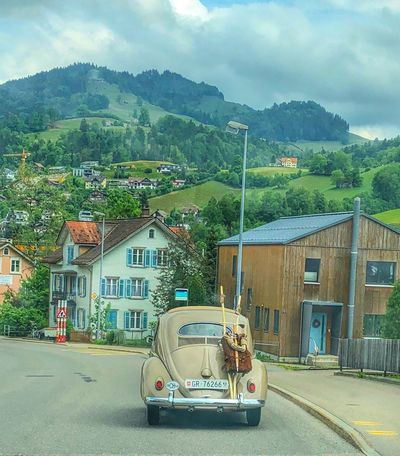 Switzerland Oldtimer Transportation Mode Of Transportation Architecture Tree Building Exterior Built Structure Cloud - Sky Road Sky Land Vehicle Day Motor Vehicle Building City Street Car Outdoors